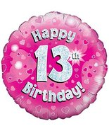 Oaktree 18 Inch Foil Balloon - Happy 13th Birthday Pink Holographic - $5.93