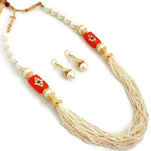 Fashion Jewelry Set Indian Gold Plated Orange White Beads Kundan Necklace Set - $14.24
