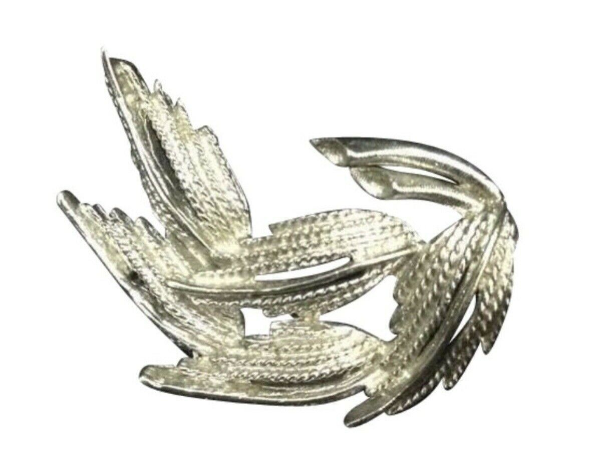 Vintage Silver Toned Costume Jewelry Brooch Pin Leaf Retro Mid Century