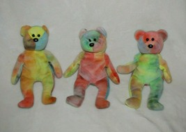 "Set/Lot 3 Stuffed Plush Ty Garcia Teddy Bear Tie Dye 8"" Beanie Baby Babies - $29.69"