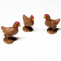 Dollhouse 3 Toy Brown Chicken Hen Game Pcs 11945 Micro-mini Miniature - $3.89