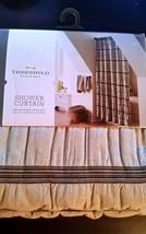 "Threshold Shower Curtain Seersucker, Tan and Brown, 72""' x 7'2"" - New - $28.11"