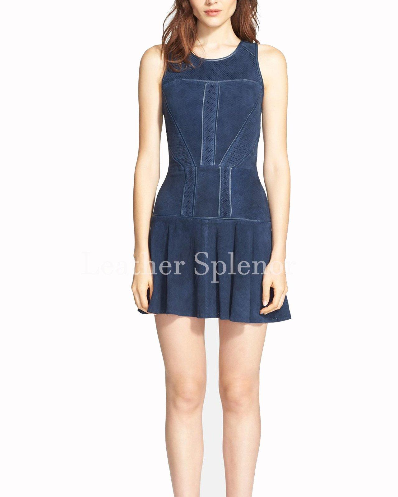 Sleeveless Women Leather Skater Dress