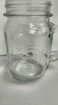 Golden Harvest Drinking Mug Mason Jar Clear Glass Handle Vintage 16 Oz - $5.89