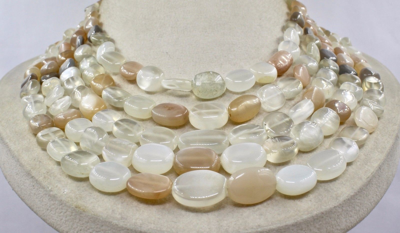 NATURAL MULTI MOONSTONE BEADS CABOCHON 5 LINE 950 CTS GEMSTONE LADIES NECKLACE image 4