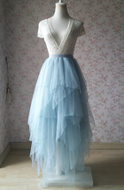 Unique High Low Dusty Blue Tier Tulle Skirt Dusty Blue Bridal Ballerina Skirt