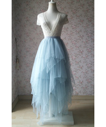 Unique High Low Dusty Blue Tier Tulle Skirt Dusty Blue Bridal Ballerina ... - $89.99+