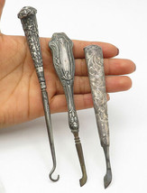 925 Silver - Vintage Antique 3 Piece Set Floral Etched Sewing Tools - T1780 - $141.28