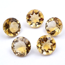 15.45 Cts Citrine Gemstone Glass Filled Faceted Cut 8 mm Round 5 Pieces Lot - $16.83