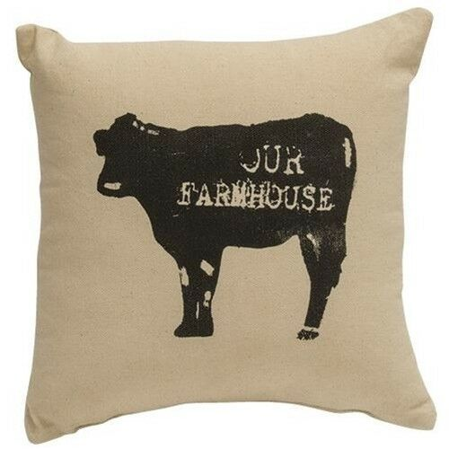 "Primary image for ""OUR FARMHOUSE"" Cow Tabletop Pillow FARMHOUSE COUNTRY DECOR  10"" Filled"