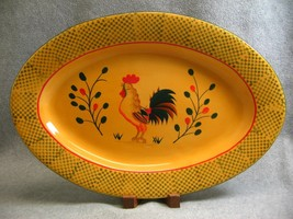 "Pacific Rim Rooster 16"" Oval Serving Platter Yellow w Green Checks Handp... - $32.73"