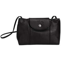 France Made Longchamp Le Pliage Cuir Crossbody Bag Black  - $199.00