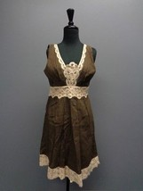 ECI NEW YORK Brown And Tan Lace And Textured Back Keyhole Dress Size 6 S... - $25.69