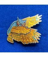 Great Horned Owl Cloisonne Brooch Enamel Pin Wings Spread Flying - $35.52
