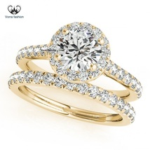Wedding Bridal Ring Set For Women's Halo Round Cut CZ 14k Gold Plated 925 Silver - $86.99