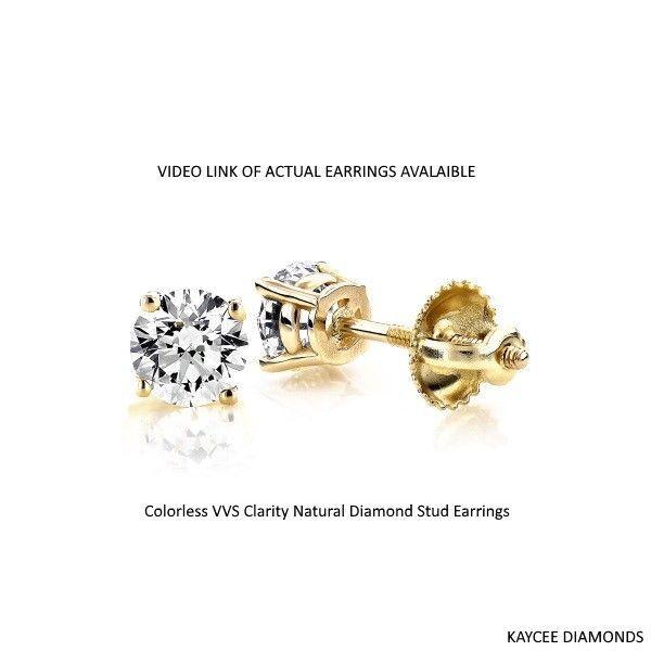 1.00 Carat F Color VVS Clarity Genuine Diamond Stud Earrings in 14K Gold