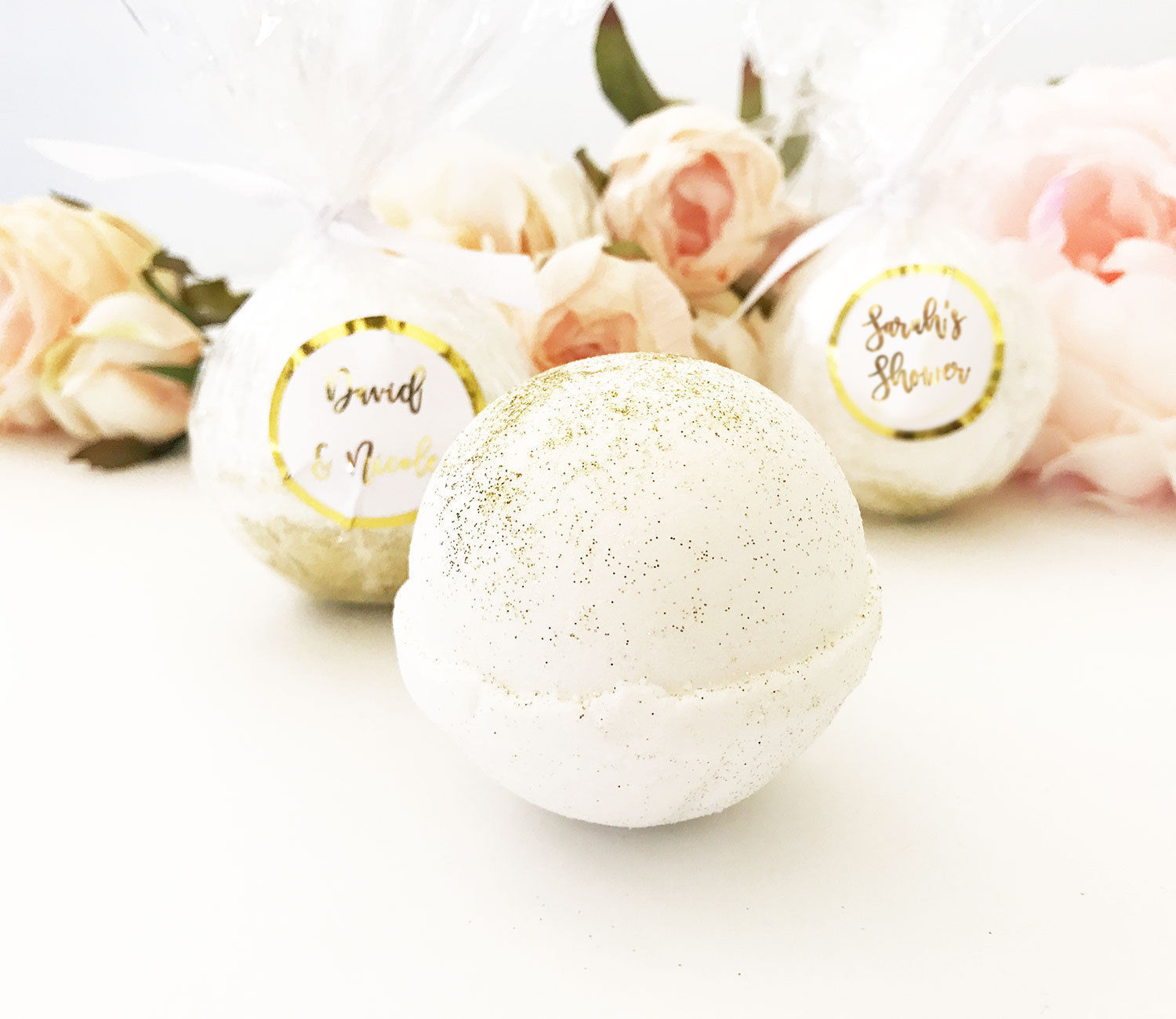 25 Personalized Silver Rose Gold Foil Bath Bomb Baby Shower Couples Favor