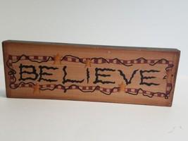 Believe Block Sign - Christmas Santa Star red - $9.89