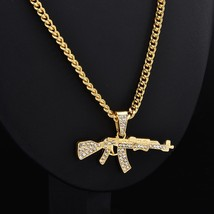 2019 New Fashion Punk Hip-Hop Women Men Gun Shape Pendant Crystal Rhines... - $9.52