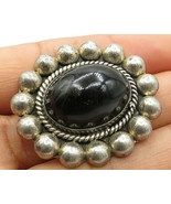 MEXICO 925 Silver - Vintage Large Beaded Black Onyx Brooch Pin - BP2034 - $96.74