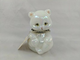 "Fenton White Opalescent Bear April 3.75"" Signed Nutter - $24.95"
