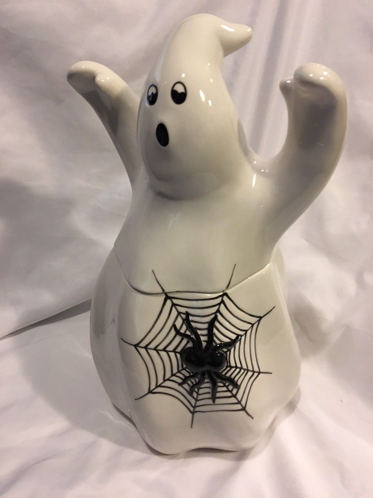 fitz and floyd halloween holloween ghost with spider cookie jar decorations new