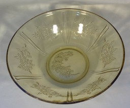 """Federal Glass Sharon Cabbage Rose Berry Bowl 8.5"""" Across Amber 1935-39 Vintage - $5.94"""