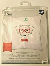 """VERVACO Dog with Red Glasses Embroidery Cushion DIY Kit 16"""" x 16"""" NEW MS... - $19.99"""