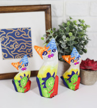 Ebros Balinese Wood Handicrafts Bright Colors Cat Family Set of 3 Figurines - $19.99