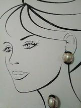 VINTAGE GOLDEN BLACK ENAMEL FAUX MABE PEARL NECKLACE ENHANCER + EARRINGS - $95.00