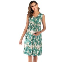 Maternity's Dress V Neck Floral Print Sleeveless Fashion Dress - $23.99
