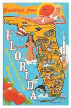 Florida Map Illustrated Cities Bathing Beauties Sunshine State 1981 Post... - $4.99