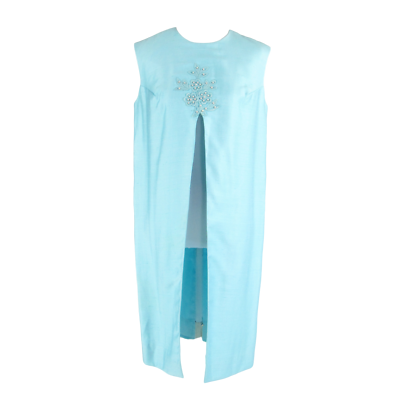 Primary image for Light blue open front sleeveless applique pearl vintage tunic dress L