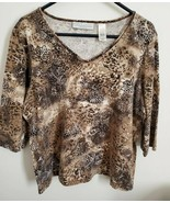 WOMAN'S Liz Claibourne First Issue Brown And Creme Flowered Top Size 1 - $4.00