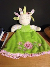 Maison Chic Green Pink Floral Cloth Doll Puppet Rattle Security Blanket ... - $29.69