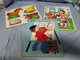 LOT OF 3 PLAYSKOOL WOOD PUZZLES PAINTER PUPPIES FARM ANIMALS 4-10 PIECES - $14.00
