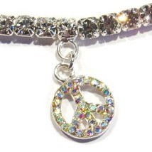 Peace Sign Anklet Clear Crystal Charm Dangle Stretch Band Silvertone Metal - $21.99