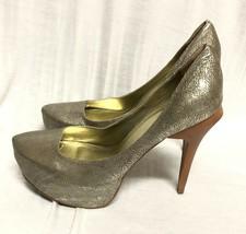 Bcbg Maxazria Zapatos Plataforma Cuero Dorado Sandalias Zapatillas Madera Tacón - $26.79