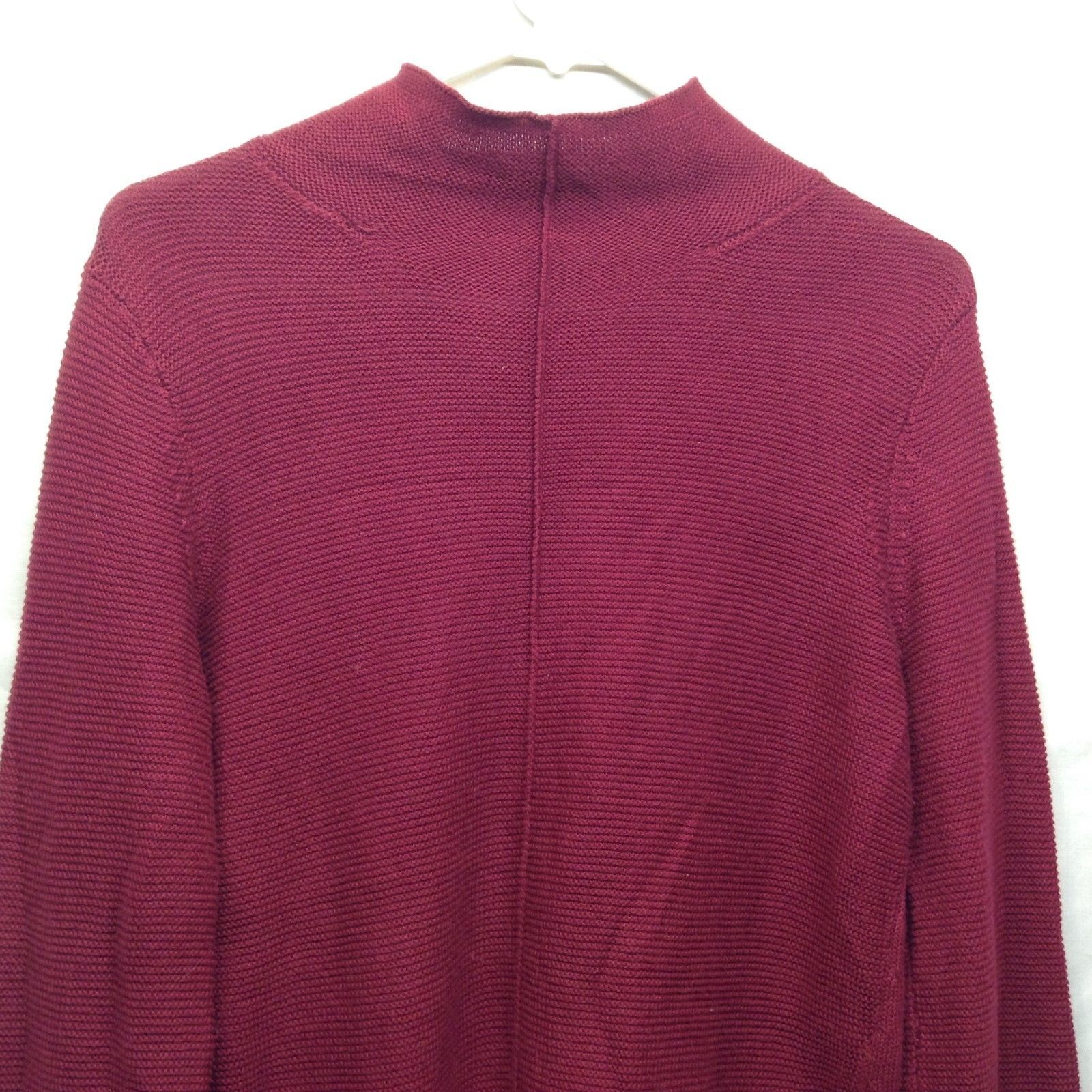 Ladies Knit Red Crew Neck Sweater by August Silk