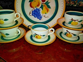 Vintage Stangl Pottery Cup /Saucer Set Of 5 Fruit Pattern - $33.61