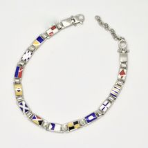 Bracelet Silver 925, Flags Nautical Glazed Tiles, Long 20 cm, Thickness 5 MM image 4