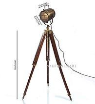 Tripod Floor Lamp Brass Antique Finish Search Light By NauticalMart - $167.31