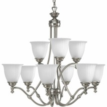 Antique Nickel Modern Traditional Chandelier 9 Light Etched Glass P4509-81 - $385.86