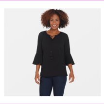 Denim & Co. Crinkle Gauze Bell Sleeve Top with Dot Lace Detail, Black, L... - $12.10