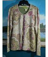 Sigrid Olsen Green Pink Floral Cardigan PM Beading Silk Rayon + SS Blouse - $29.65