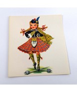 Dolls of Many Lands Card Scotland Vintage Blank Note Card for Collage, E... - $2.50