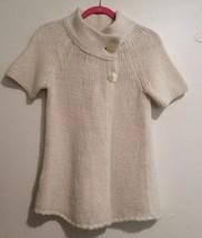 Ann Taylor Loft Cardigan Sweater Size M Ivory 2 Button Short Sleeve Chun... - $16.70