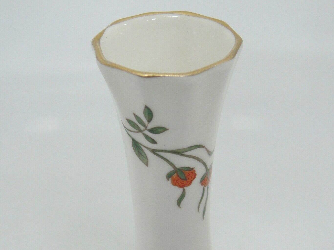 "Aynsley Famille Rose Bud Vase Bone China Floral 7"" Gilded Made in England"