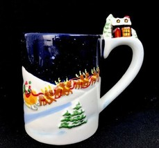 Bella Casa by Ganz Christmas Holiday Santa Claus Sleigh Rooftops Mug Cer... - $15.80