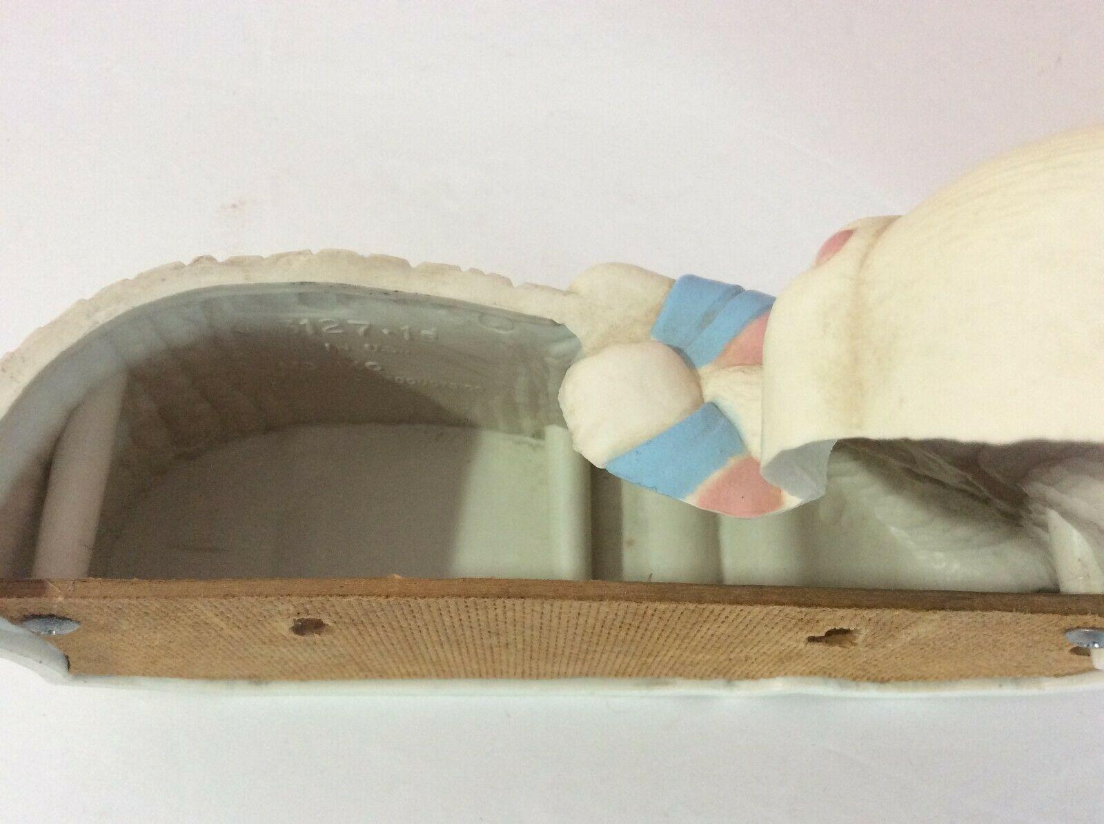 Vintage Burwood Products Homco Bunny Rabbit Wall Hanging Pockets Babys Room